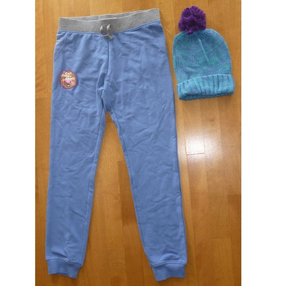 online retailer c0d45 7cbd7 Girls Lee Jogger Sweatpants Beanie Hat River Blue